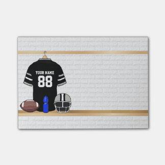 Jersey personalizado del fútbol del negro y de los notas post-it®