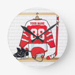 Jersey personalizado del hockey sobre hielo relojes de pared