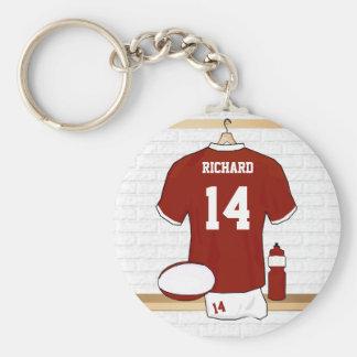 Jersey personalizado del rugbi en vestuario llavero redondo tipo pin