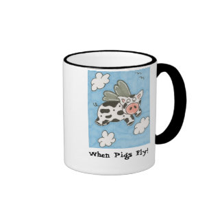 Jersey Pig with Wings Ringer Mug