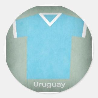 Jersey retro del fútbol de Uruguay Pegatina Redonda