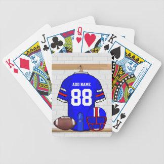 Jersey rojo blanco azul personalizado del fútbol barajas de cartas