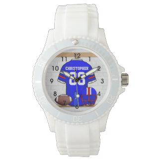 Jersey rojo blanco azul personalizado del fútbol reloj de mano