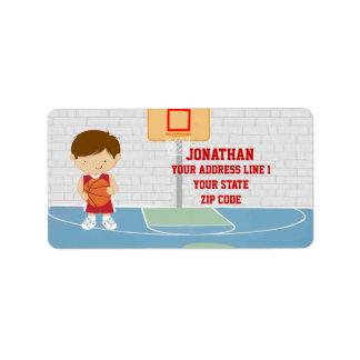 Jersey rojo del baloncesto del jugador de básquet  etiquetas de dirección