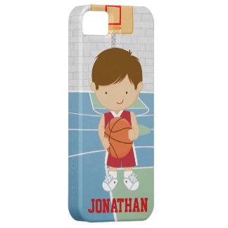 Jersey rojo del baloncesto del jugador de básquet funda para iPhone 5 barely there