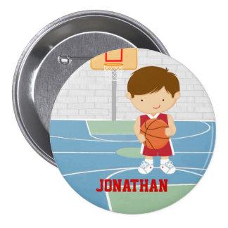 Jersey rojo del baloncesto del jugador de básquet pins