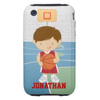 Jersey rojo del baloncesto del jugador de básquet tough iPhone 3 protector