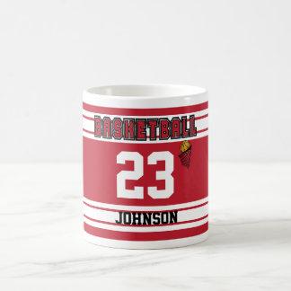 Jersey rojo oscuro y blanco del baloncesto taza de café