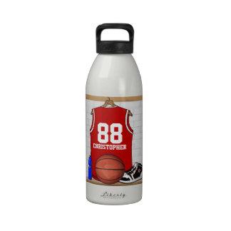 Jersey rojo personalizado del baloncesto botella de agua reutilizable