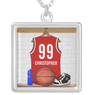 Jersey rojo personalizado del baloncesto collar plateado
