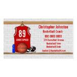 Jersey rojo personalizado del baloncesto tarjetas de visita