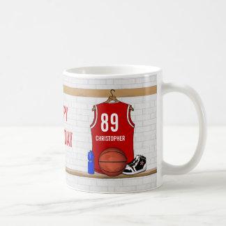 Jersey rojo personalizado del baloncesto tazas