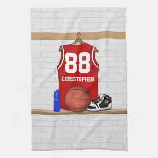 Jersey rojo personalizado del baloncesto toallas