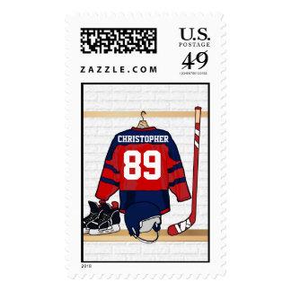 Jersey rojo y azul personalizado del hockey sobre sello