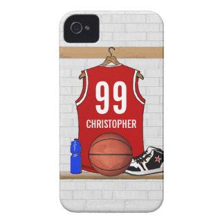 Jersey rojo y blanco personalizado del baloncesto iPhone 4 Case-Mate protector