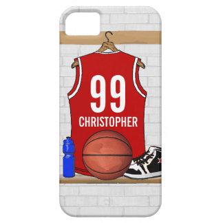 Jersey rojo y blanco personalizado del baloncesto iPhone 5 Case-Mate fundas