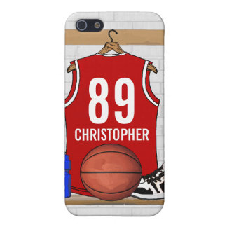 Jersey rojo y blanco personalizado del baloncesto iPhone 5 fundas