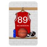 Jersey rojo y blanco personalizado del baloncesto iman flexible