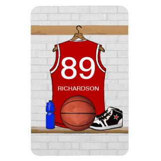 Jersey rojo y blanco personalizado del baloncesto iman rectangular