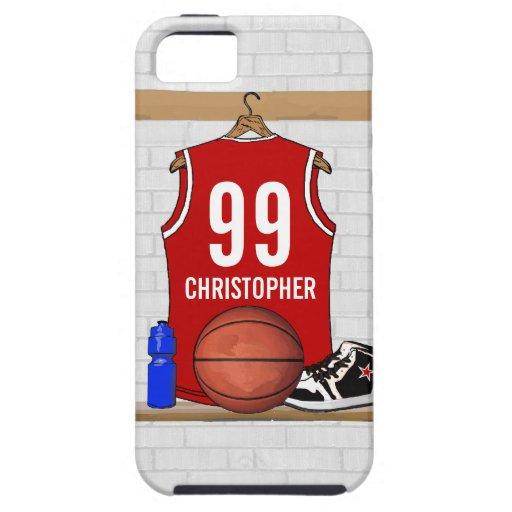 Jersey rojo y blanco personalizado del baloncesto iPhone 5 funda