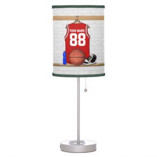 Jersey rojo y blanco personalizado del baloncesto lámpara de mesa