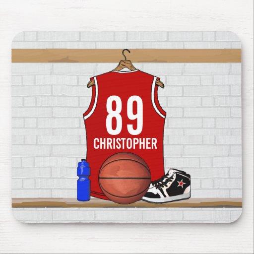 Jersey rojo y blanco personalizado del baloncesto mouse pad