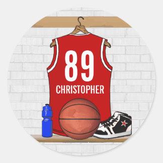 Jersey rojo y blanco personalizado del baloncesto pegatina redonda