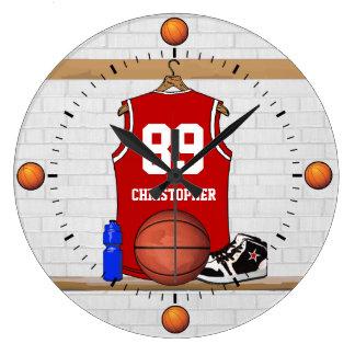 Jersey rojo y blanco personalizado del baloncesto reloj redondo grande