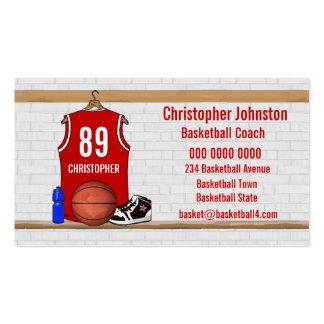 Jersey rojo y blanco personalizado del baloncesto tarjetas de visita