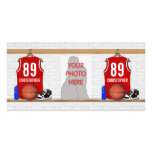 Jersey rojo y blanco personalizado del baloncesto tarjetas fotográficas