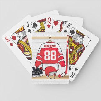Jersey rojo y blanco personalizado del hockey baraja de cartas