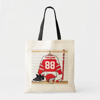 Jersey rojo y blanco personalizado del hockey bolsa de mano