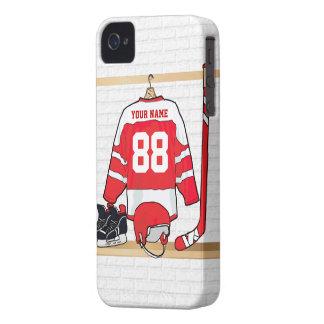 Jersey rojo y blanco personalizado del hockey Case-Mate iPhone 4 protectores