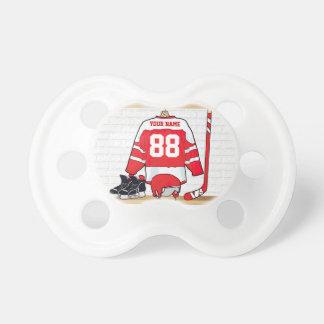 Jersey rojo y blanco personalizado del hockey chupete de bebé