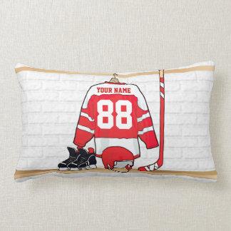 Jersey rojo y blanco personalizado del hockey cojines
