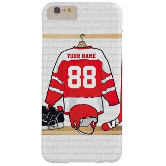 Jersey rojo y blanco personalizado del hockey funda de iPhone 6 plus barely there