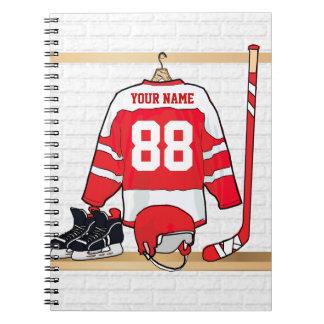 Jersey rojo y blanco personalizado del hockey libros de apuntes