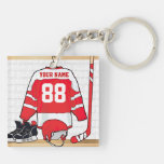 Jersey rojo y blanco personalizado del hockey llaveros
