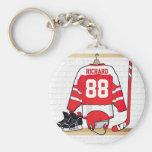 Jersey rojo y blanco personalizado del hockey llaveros personalizados