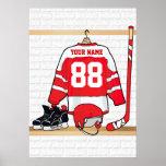Jersey rojo y blanco personalizado del hockey póster
