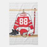 Jersey rojo y blanco personalizado del hockey toallas de cocina