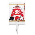 Jersey rojo y blanco personalizado del hockey palillos de tarta