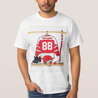Jersey rojo y blanco personalizado del hockey playeras