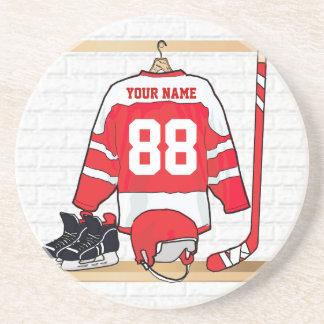Jersey rojo y blanco personalizado del hockey posavaso para bebida