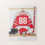 Jersey rojo y blanco personalizado del hockey rompecabeza