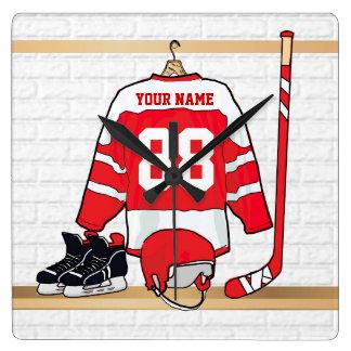 Jersey rojo y blanco personalizado del hockey reloj cuadrado