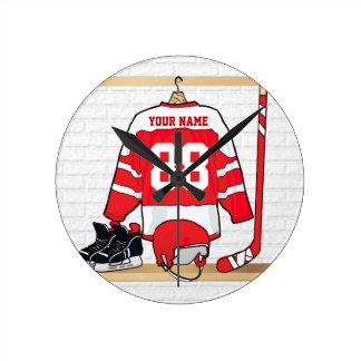 Jersey rojo y blanco personalizado del hockey reloj redondo mediano