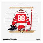 Jersey rojo y blanco personalizado del hockey vinilo adhesivo