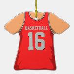 Jersey rojo y gris 16 V1 del baloncesto Ornamentos Para Reyes Magos
