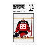 Jersey rojo y negro personalizado del hockey sobre sello